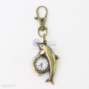 Copper Small Pendant Watch Shaped in Dolphin, with Stainless Steel Back