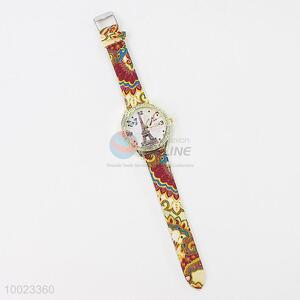 High Quality PU Colorized Wrist Watch with Eiffel Tower Pattern and Stainless Steel Back