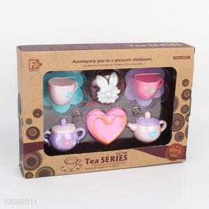 Best Selling 8pcs Flowers Printed Plastic Tea Set for Role Play