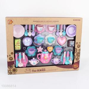 Latest Design 37pcs Flowers Printed Plastic Tea Set for Role Play