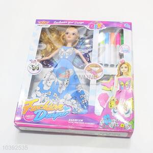 Promotional Kids Girl DIY Painting Barbie Doll Toy