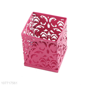 Factory wholesale pink office storage iron tree rattan flower pen holder