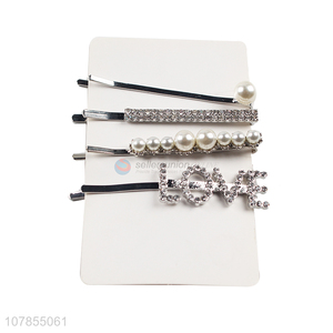 Best Quality 4 Pieces Shiny Hair Clip Hair Pin Set