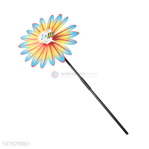 Hot selling flower shape plastic pinwheel toy garden decorations