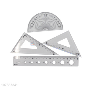 High quality cheap price plastic clear ruler set for stationery