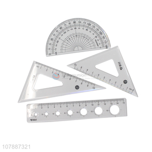 Hot sale clear durable students ruler set for stationery