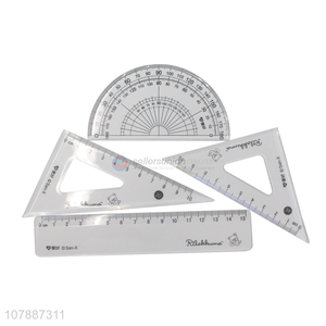 Best sale plastic students stationery ruler set wholesale