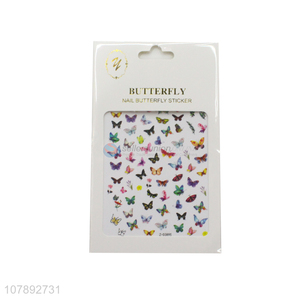 Good selling butterfly pattern colourful nail wraps nail art stickers