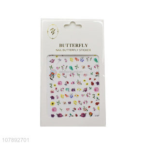 Most popular flower pattern mini paper nail art stickers wholesale