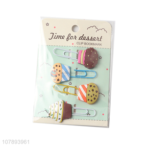 Hot selling cartoon cupcake shape soft pvc paper clips cute bookmarks
