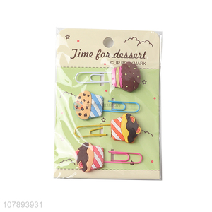 Private label cartoon dessert shape pvc bookmarks paper clips for students